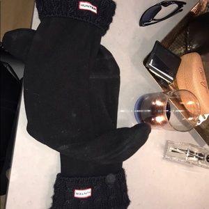 Hunter tall black cable knit boot socks